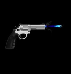 Revolver firing ice bullet on black background vector