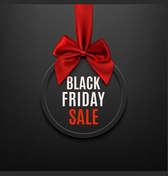 Black Friday round banner with red ribbon and bow vector image