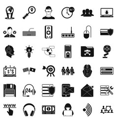 cyber shield icons set simple style vector image vector image