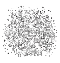 Doodles birds group black and white owls vector image vector image