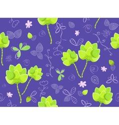 floral seamless pattern on violet background vector image vector image