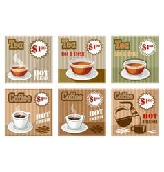 Set of coffee and tea menu card vector image vector image