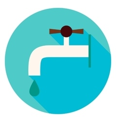 Water Faucet Circle Icon vector image vector image