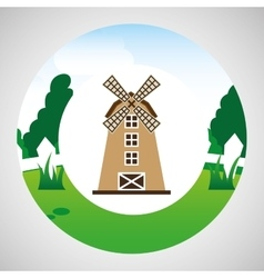 farm countryside windmill design vector image vector image