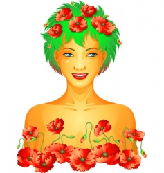 poppy spring girl vector image