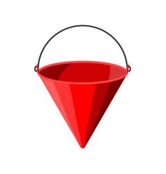 Red metal fire bucket fire equipment vector