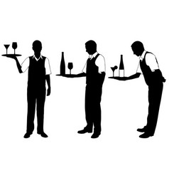 set of different waiters with trays vector image vector image