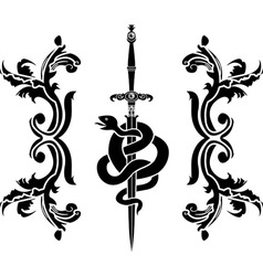 Snake and sword stencil vector image vector image