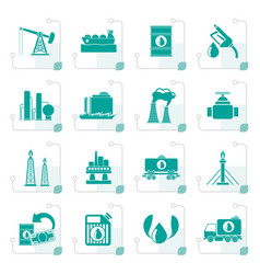 stylized petrol and oil industry icons vector image