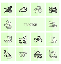 14 tractor icons vector