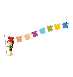 A girl holding a stick with hanging clothes vector image