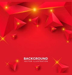 abstract shiny red triangle background 3d vector image