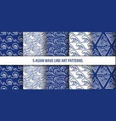 asian water sea wave seamless pattern set vector image