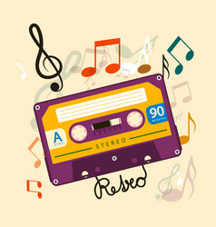 audio cassette tape with notes - music retro vector image