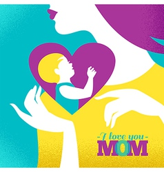 Beautiful silhouette of mother and baby in heart vector image