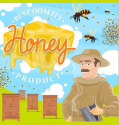 Beekeeping farm poster with beekeeper at apiary vector