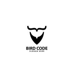 Bird code logo design icon vector