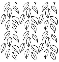 black and white geometric leaves seamless pattern vector image