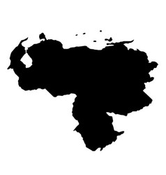 black silhouette country borders map of venezuela vector image