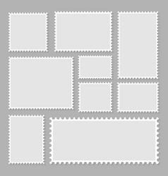 Blank set postage stamps collection vector