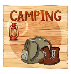 Camping sign with lantern and backpack vector