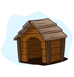 cartoon brown wooden dog house kennel icon vector image
