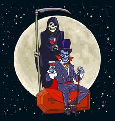 cartoon death skeleton and dracula vampire on full vector image