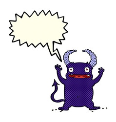 Cartoon little devil with speech bubble vector