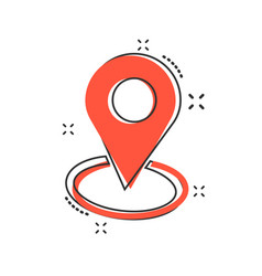 cartoon pin location icon in comic style vector image