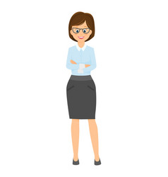 cartoon smiling businesswoman with arms crossed on vector image
