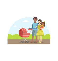 cheerful interracial parents with their toddler vector image