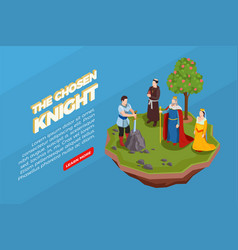 Chosen knight medieval isometric composition vector