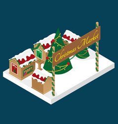 Christmas market in isometric view vector