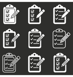 Clipboard pencil icon set vector image