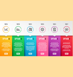 Cogwheel investment graph and checklist icons set vector