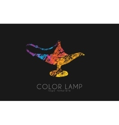 Color lamp logo Magic lamp Magic logo design vector image