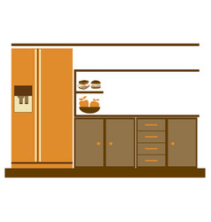 color silhouette of lower kitchen cabinets with vector image vector image