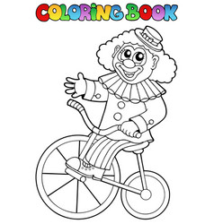 Coloring book with happy clown 4 vector