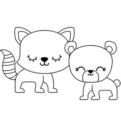 cute cat with bear animals isolated icon vector image