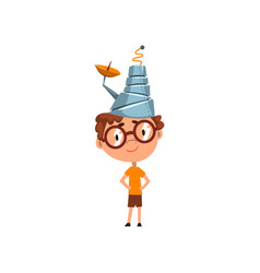 Cute kid in fantastic headdress with antenna vector