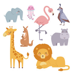 cute zoo cartoon animals isolated funny wildlife vector image