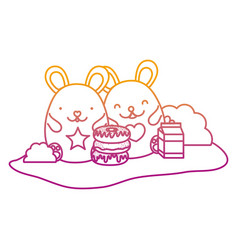 degraded line cute mice with donuts and milk box vector image