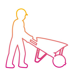 Degraded line pictograph laborer with wheelbarrow vector