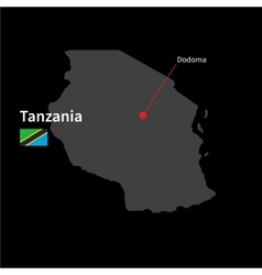 Detailed map of Tanzania and capital city Dodoma vector image