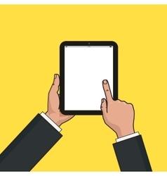 Digital tablet in businessman hands Hands using vector