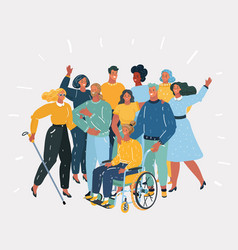 Disabled people and they friends vector