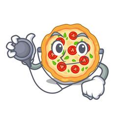 Doctor margherita pizza in a cartoon oven vector