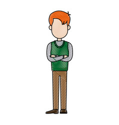 drawing cartoon man standing character male vector image