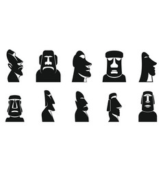 Easter island icons set simple style vector