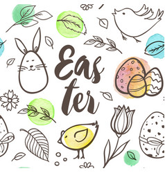 easter seamless pattern with rabbit and birds vector image